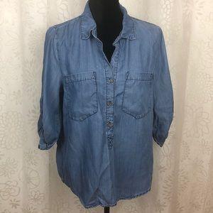 Velvet Heart chambray denim blouse 3/4 sleeve M